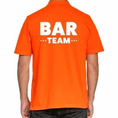 Goedkope bar team / personeel tekst polo poloshirt oranje heren
