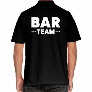 Goedkope bar team / personeel tekst polo poloshirt zwart heren