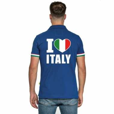 Goedkope blauw i love italie polo heren poloshirt