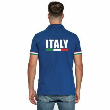 Goedkope blauw italie supporter polo heren poloshirt