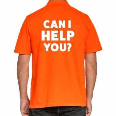 Goedkope can i help you beurs/evenementen polo poloshirt oranje heren