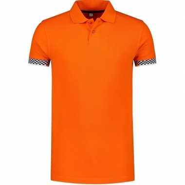 Goedkope grote maten oranje polo poloshirt racing/formule heren