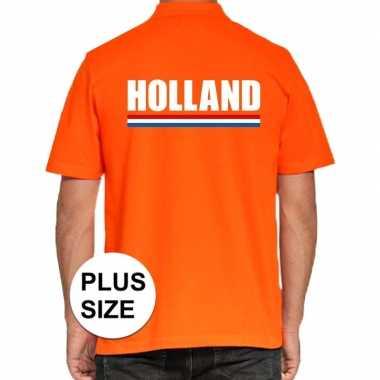 Goedkope grote maten poloshirt oranje holland heren