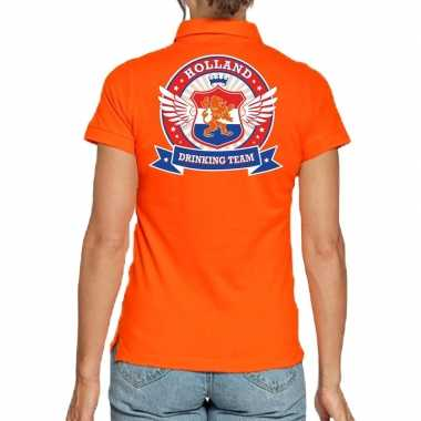 Goedkope holland drinking team poloshirt oranje dames