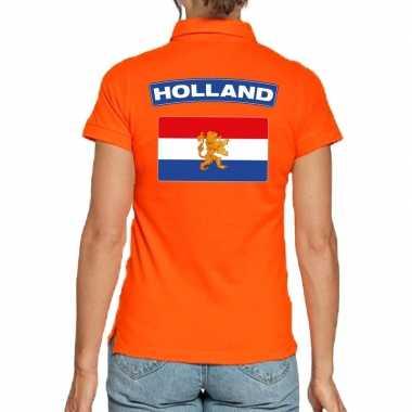 Goedkope holland supporter poloshirt oranje dames