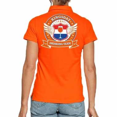 Goedkope kingsday drinking team poloshirt oranje dames