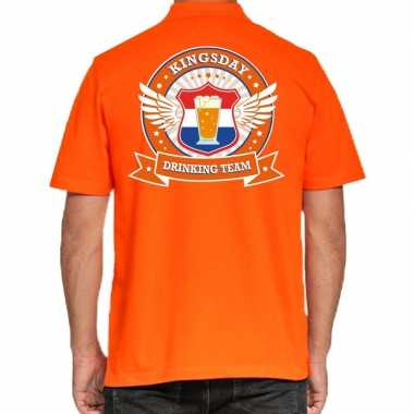 Goedkope kingsday drinking team poloshirt oranje heren