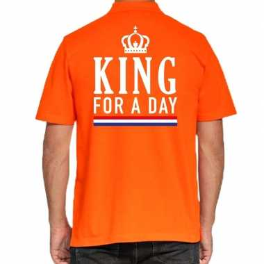 Goedkope koningsdag poloshirt king for a day oranje heren