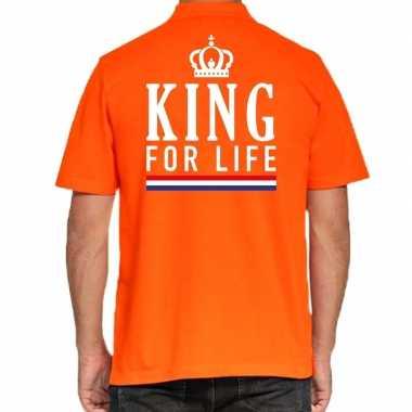 Goedkope koningsdag poloshirt king for life oranje heren