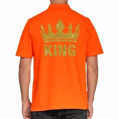 Goedkope koningsdag poloshirt king goud glitter oranje heren
