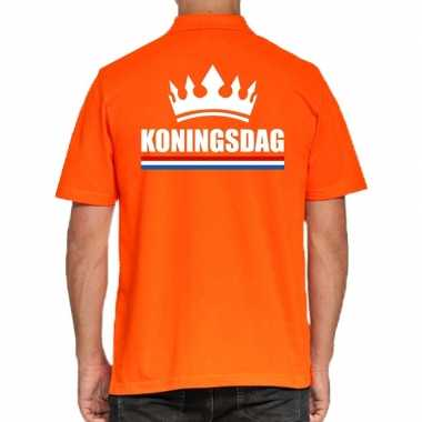 Goedkope koningsdag poloshirt kroon oranje heren