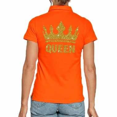 Goedkope koningsdag poloshirt queen goud glitter oranje dames