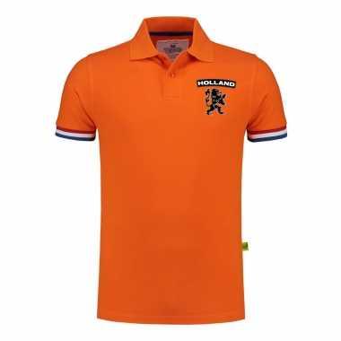 Goedkope luxe holland supporter poloshirt grams oranje leeuw borst ek / wk heren