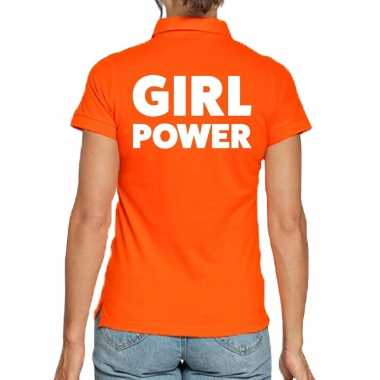 Goedkope oranje poloshirt girl power dames
