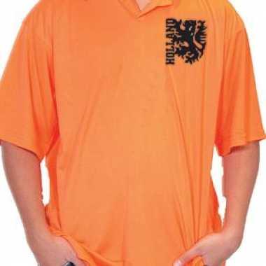 Goedkope oranje poloshirt leeuw logo