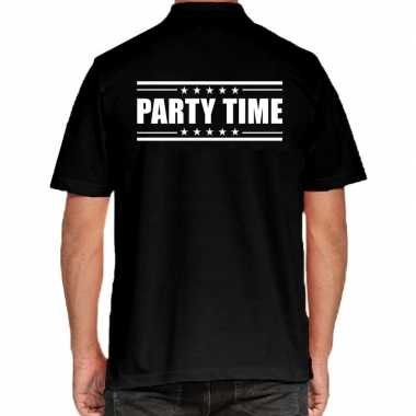 Goedkope party time poloshirt zwart heren