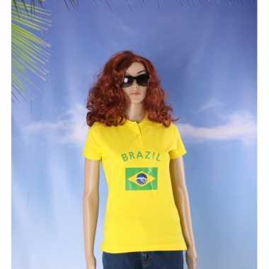 Goedkope  Polo Brazil vlag print poloshirt