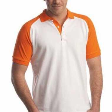Goedkope  Poloshirt kleuren wit/oranje