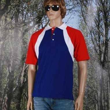 Goedkope  Poloshirt rood/wit/blauw heren
