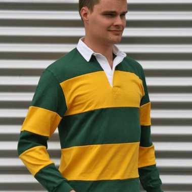 Goedkope  Rugbypoloshirt groen geel