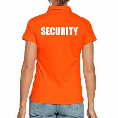 Goedkope security poloshirt oranje dames