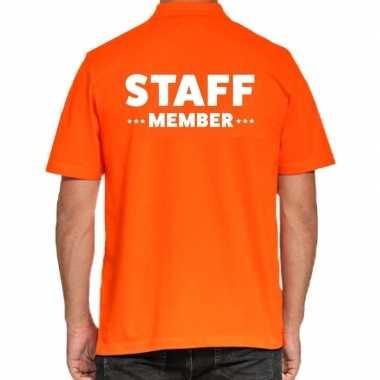 Goedkope staff member / personeel tekst polo poloshirt oranje heren