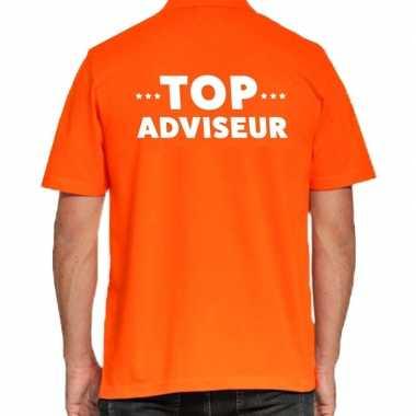 Goedkope top adviseur beurs/evenementen polo poloshirt oranje vo