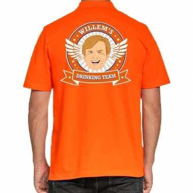 Goedkope willems drinking team poloshirt oranje heren