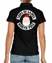 Goedkope fout kerst polo poloshirt sons of santa north polezwart dames
